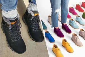 to the left: a reviewer in black ankle winter booties, to the right: a model in purple suede booties surrounded by other colors of the shoes