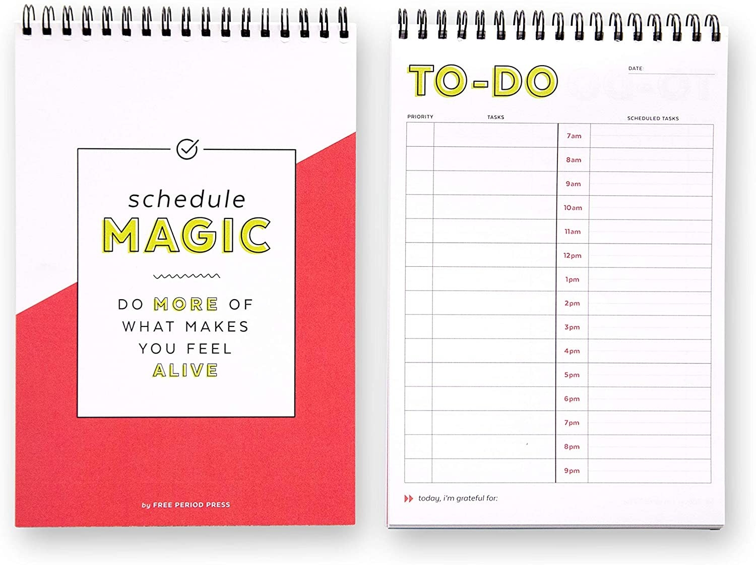"""The vertical spiral-bound notebooks with a cute cover that reads """"Schedule Magic Do more of what makes you feel alive"""" and the to-do pages with the priority, tasks, and scheduled tasks columns with rows labeled 7 am to 9 pm"""