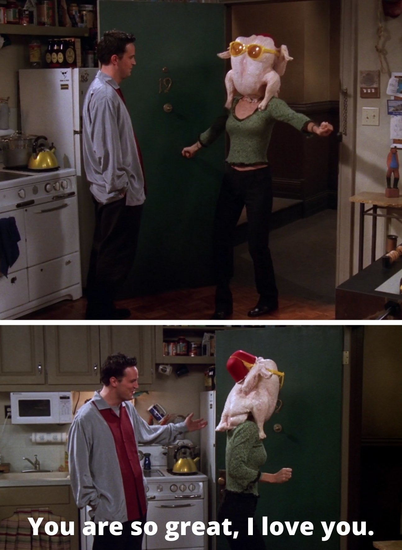 "Monica dancing with a turkey on her head and Chandler telling her, ""You are so great, I love you"""