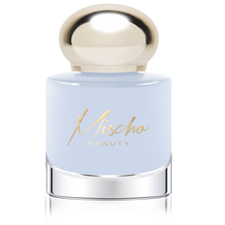 The light blue polish in a clear bottle with round gold cap