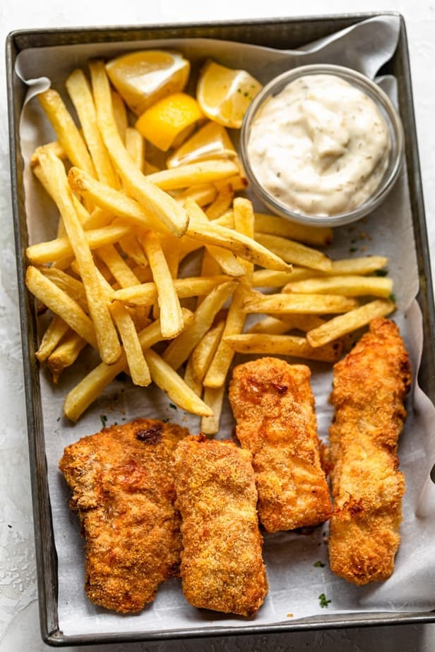 Crispy breaded fish with French fries.