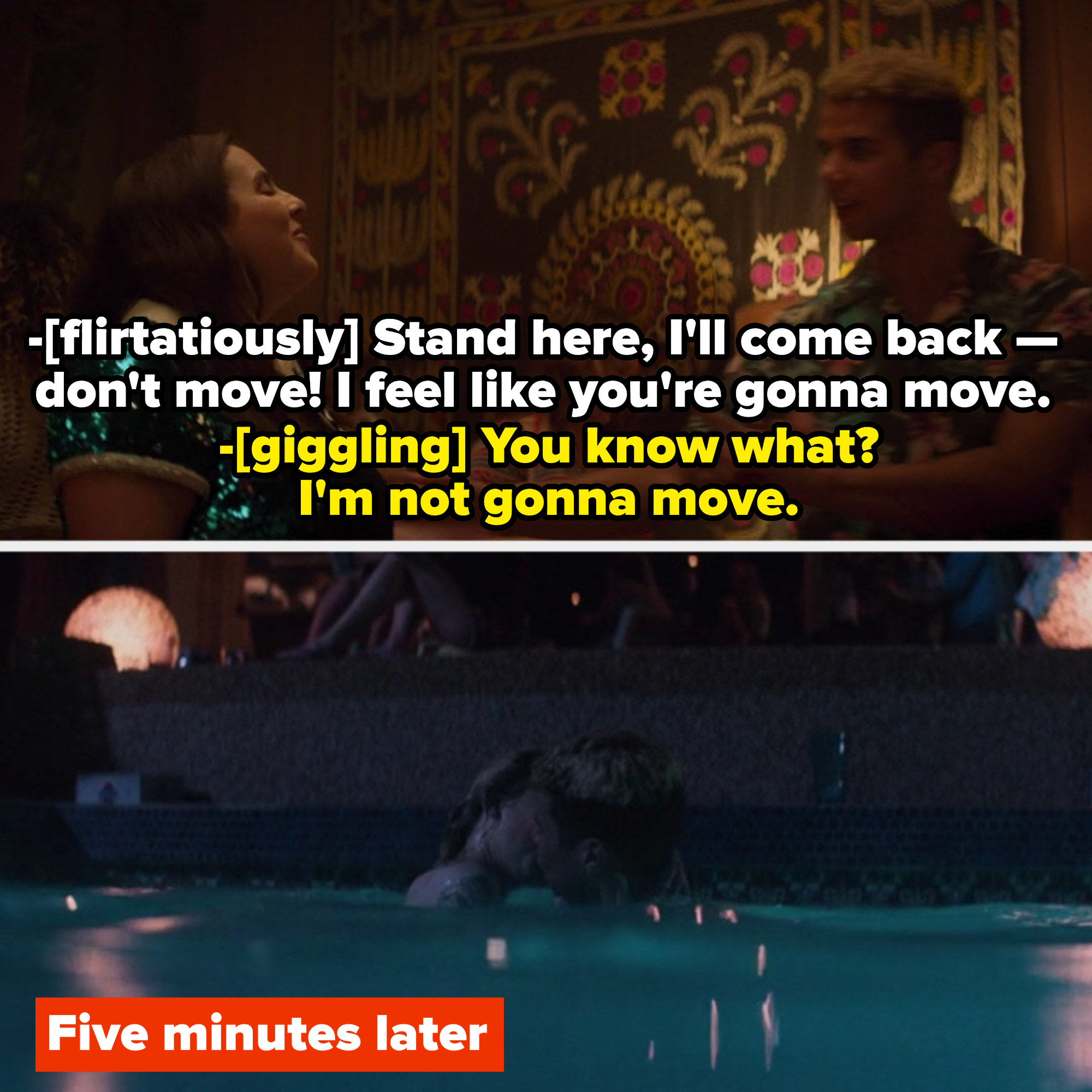 Nick and Molly flirting with each other while playing ping pong; Nick and Ryan making out at night in the pool