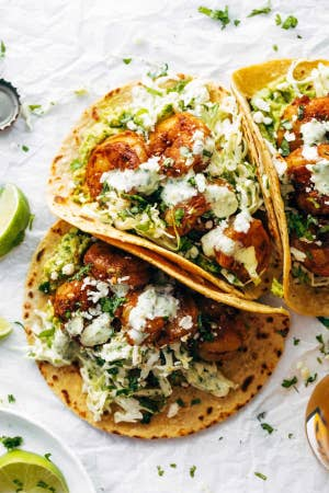 Shrimp tacos topped with cilantro lime slaw.