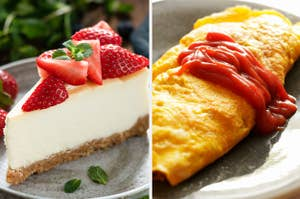 Side-by-side images of cheesecake and eggs with ketchup on them