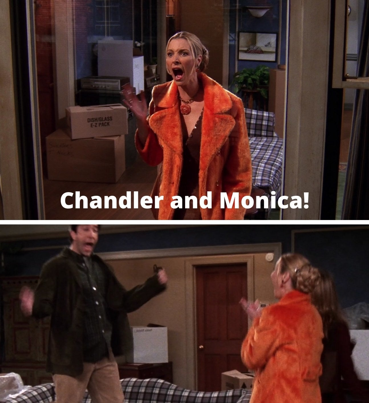 "Phoebe screaming, ""Chandler and Monica!"" and Ross jumping and screaming"