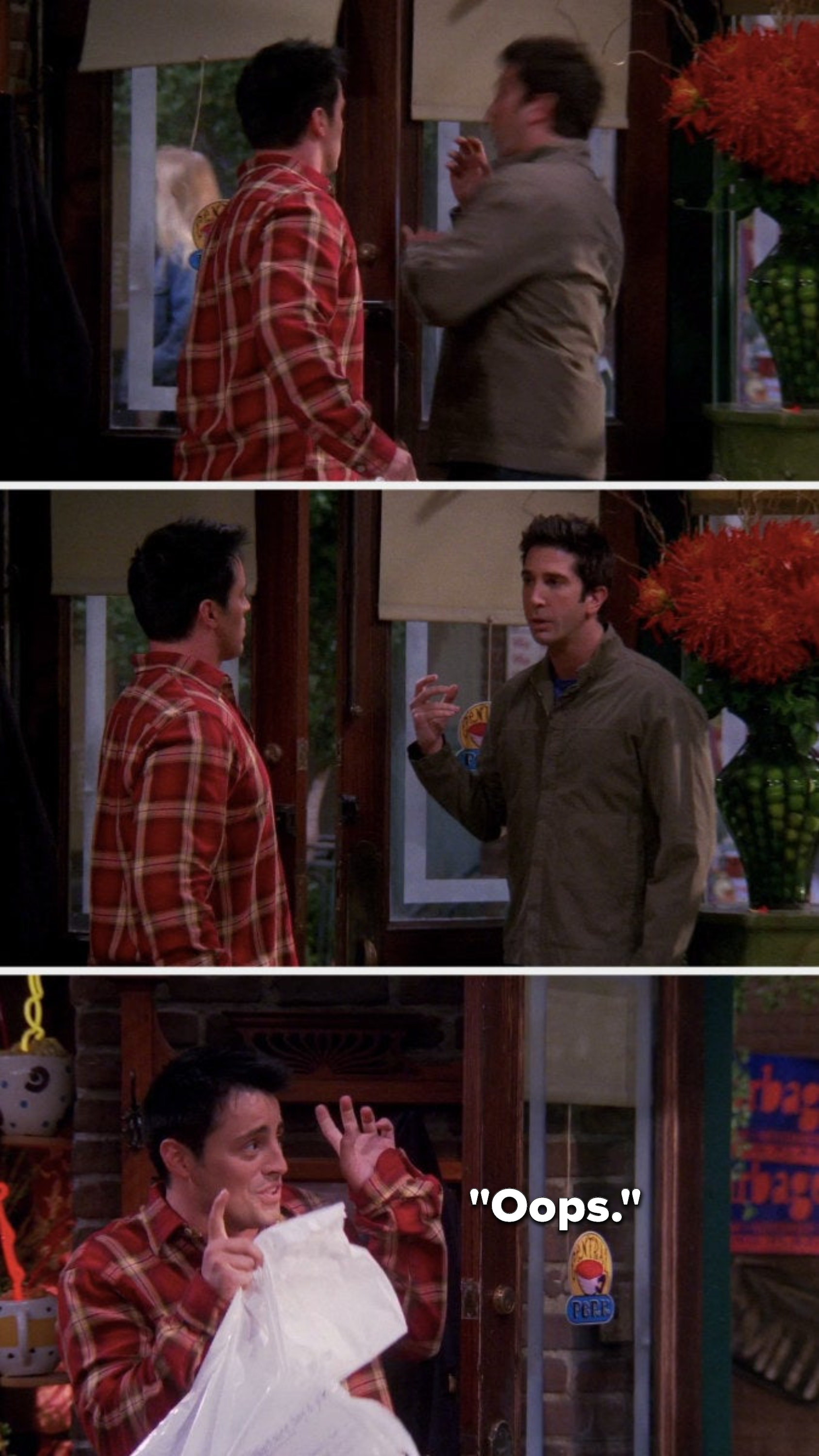 """Joey opens the door on Ross's hand, Ross looks at him angrily, and Joey does air quotes and says, """"Oops"""""""