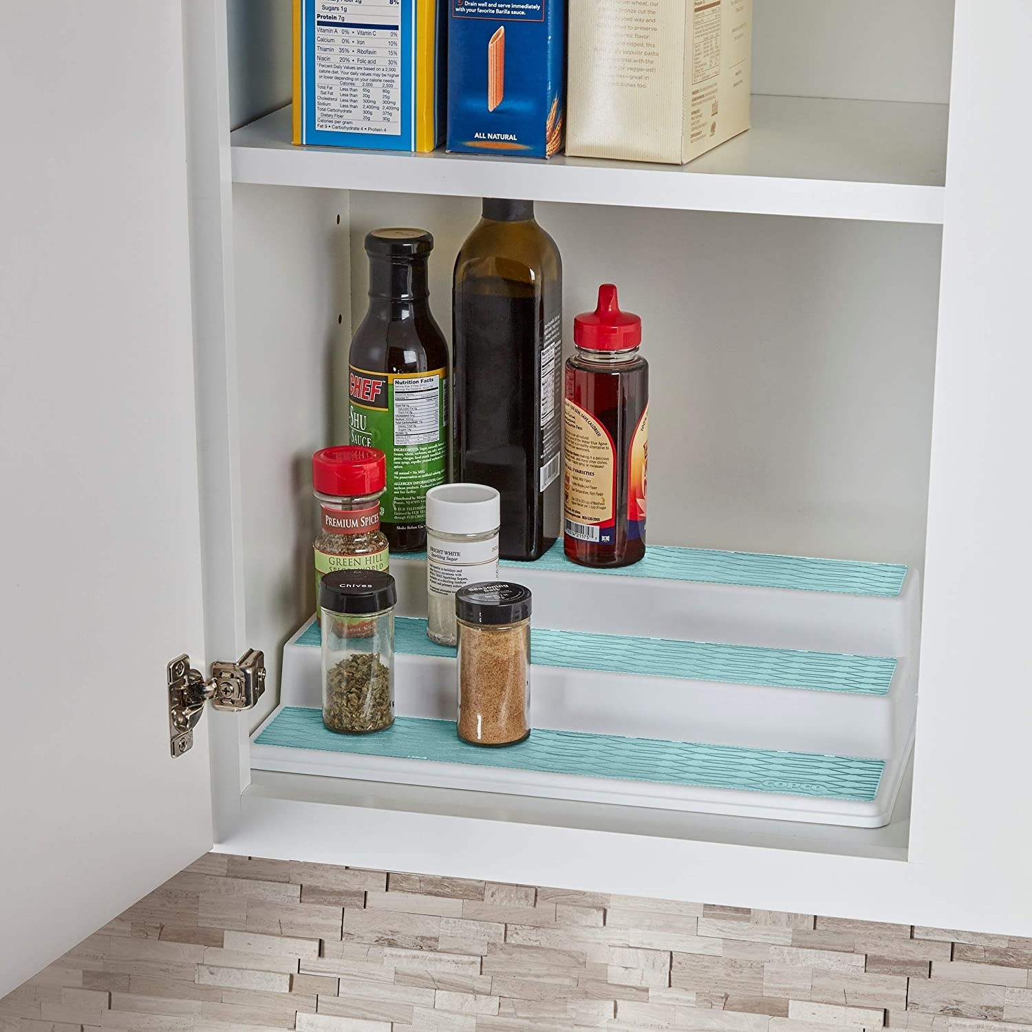 Several jars and bottles on the organizer