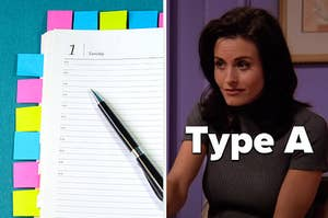 A planner and Monica from Friends