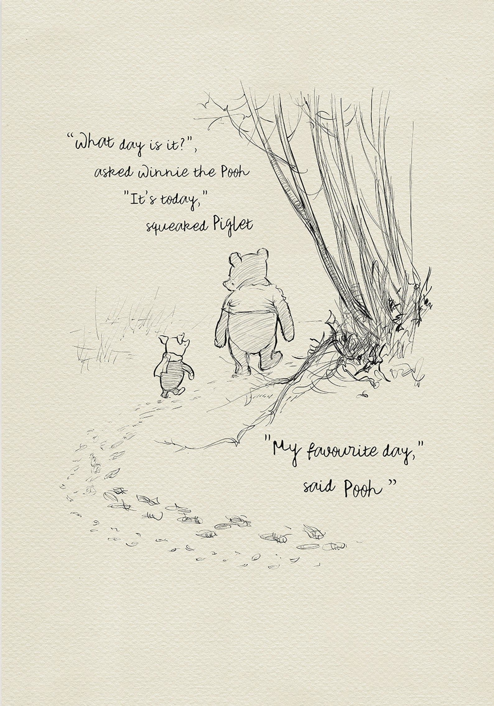 the print, which shows Pooh and Piglet walking in the woods