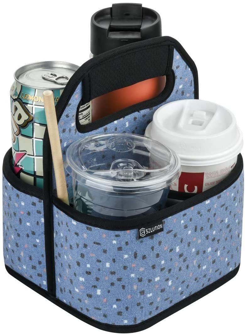 The foldable four-cup caddy in colorful dots