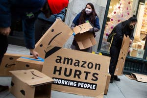 Amazon workers protest in New York
