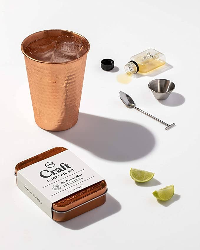 The kit styled with a Moscow mule up, mini barspoon, and small bottle of mixer