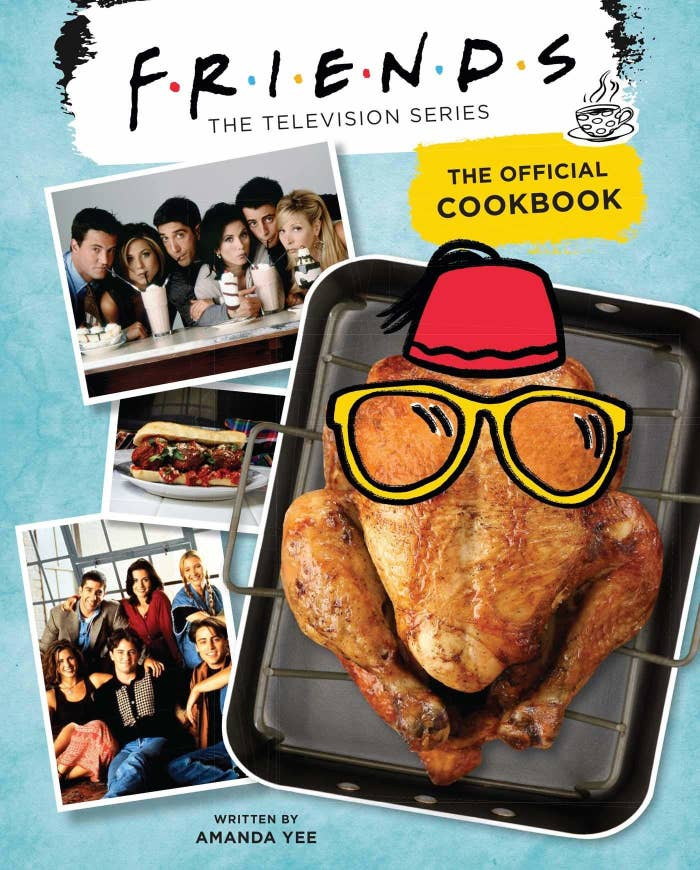 cover of the cookbook with a turkey and pictures of the friends that says written by Amanda Yee