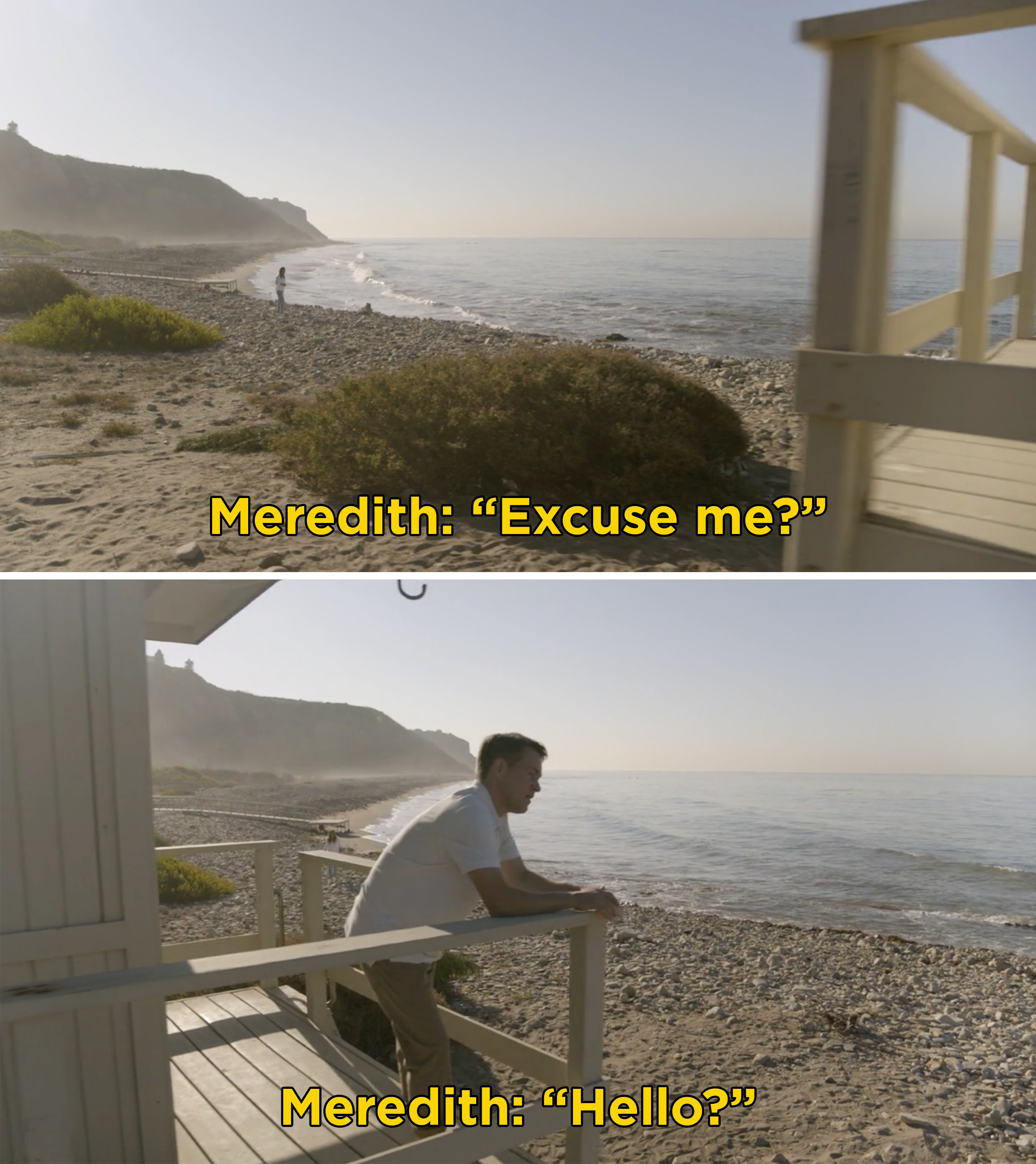 """Meredith saying, """"Excuse me? Hello?"""" to someone on the beach"""