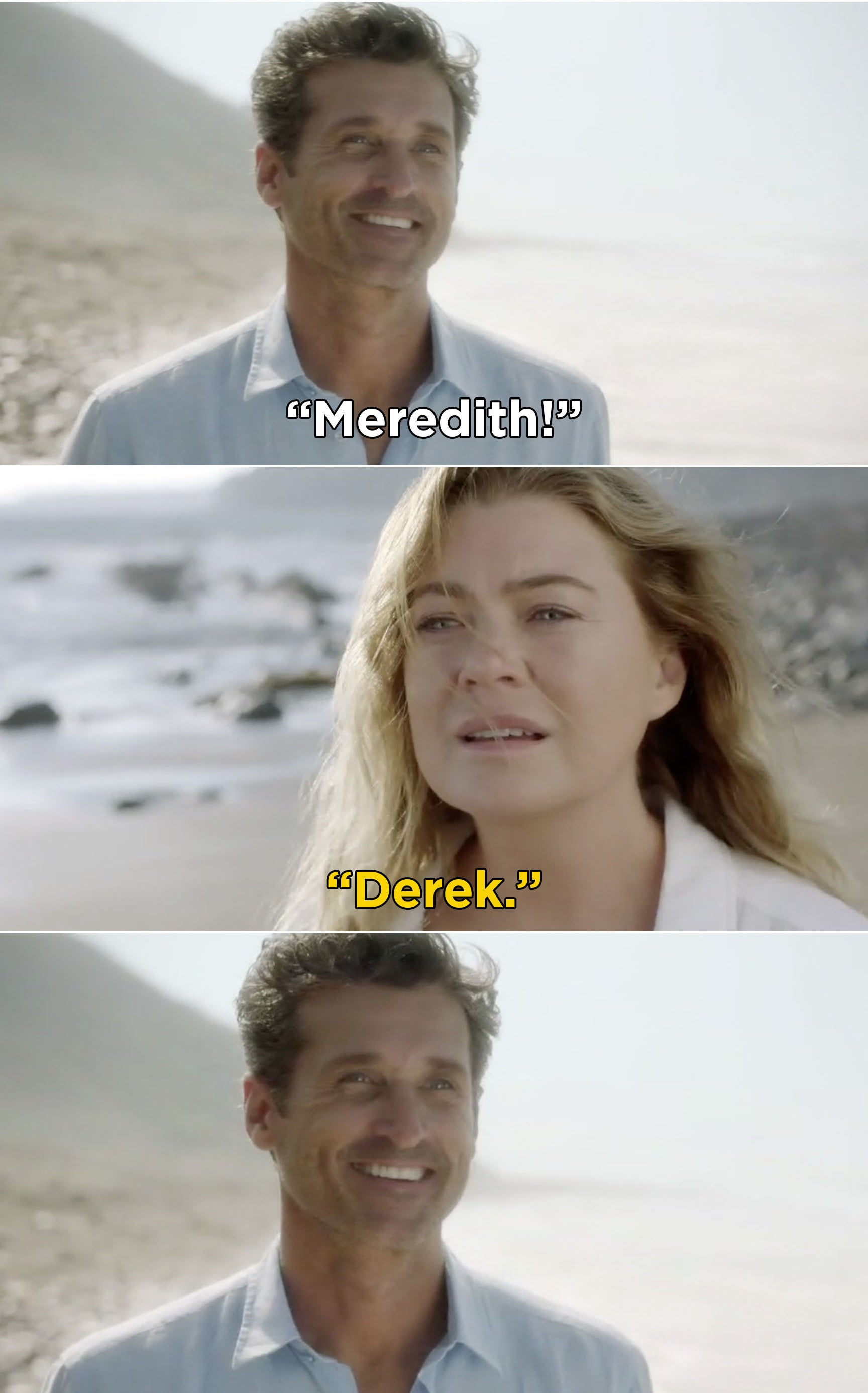 Meredith and Derek saying each other's names and reuniting on the beach