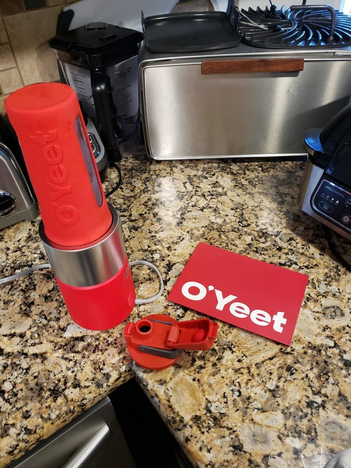 reviewer image of the o'yeet personal blender on a kitchen counter