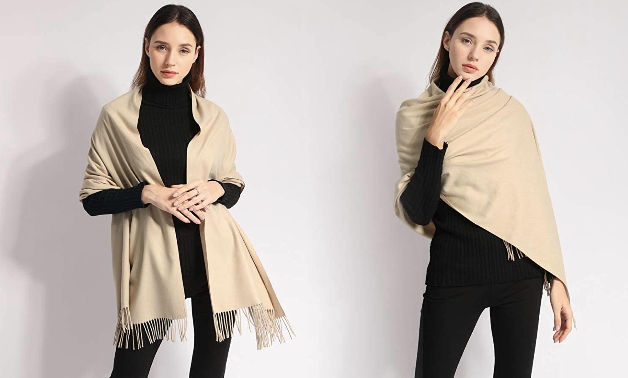 model wearing the scarf in tan
