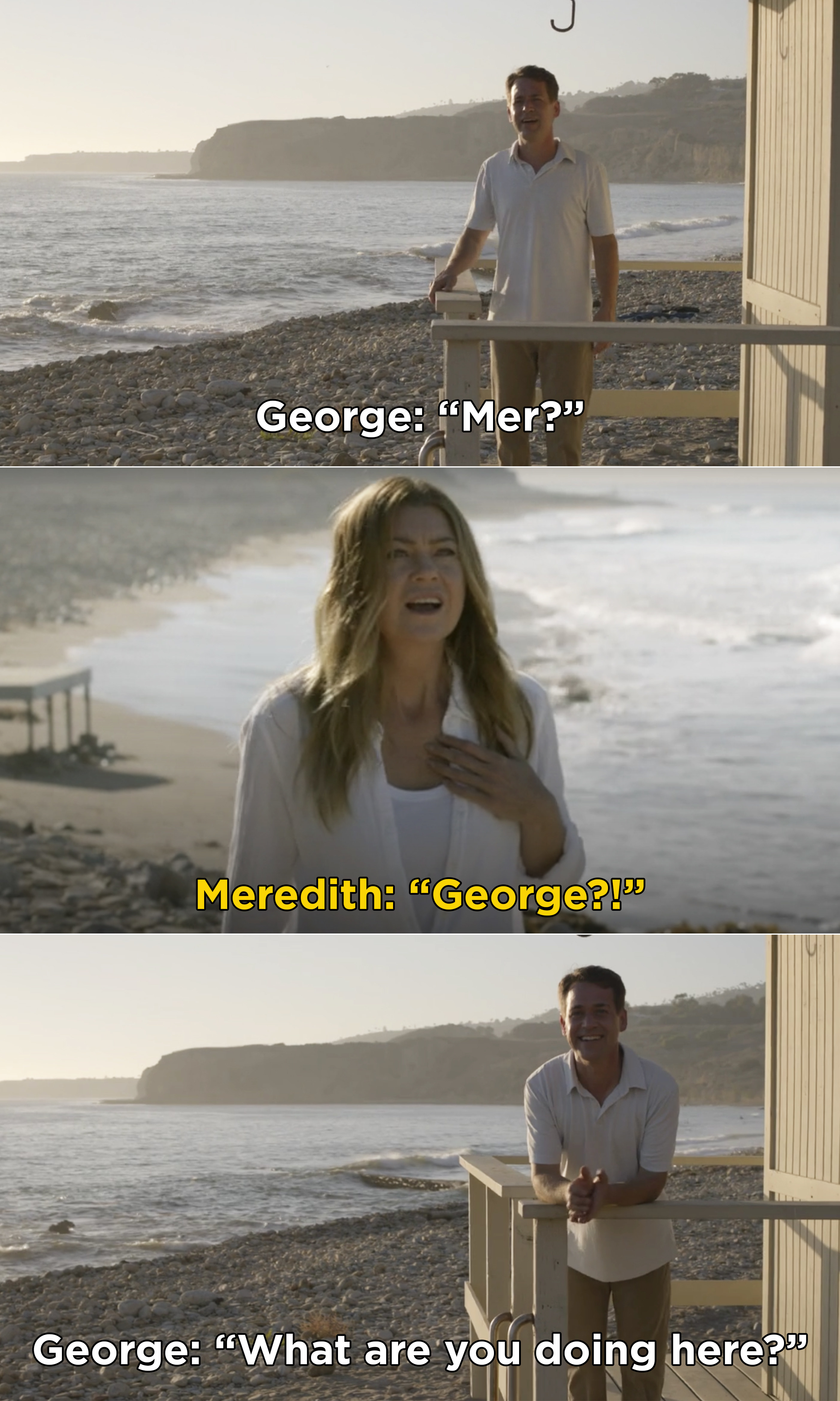 """George saying, """"Mer? What are you doing here?"""""""