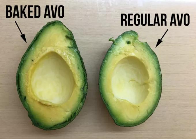 A baked avocado versus a regular avocado