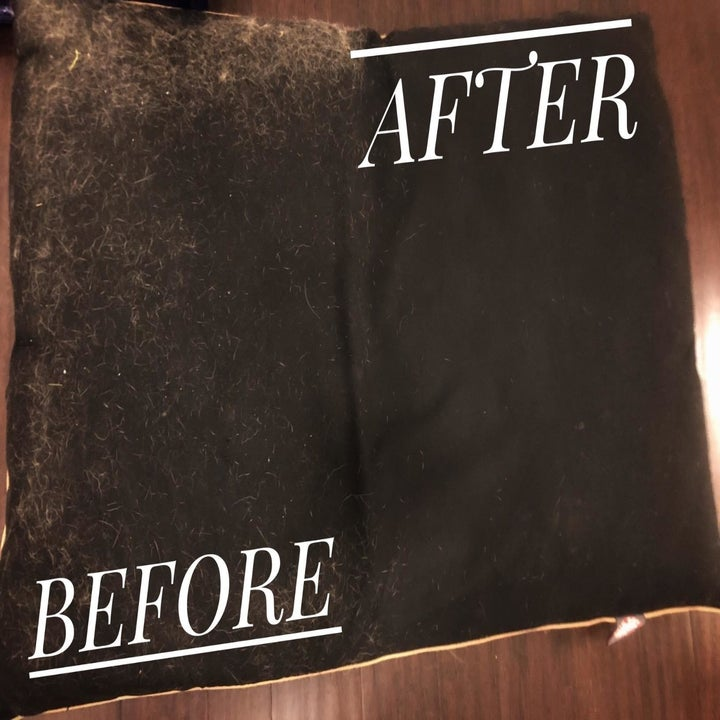 A different reviewer's before and after picture which shows a cushion covered in lint and fur and then nice and clean
