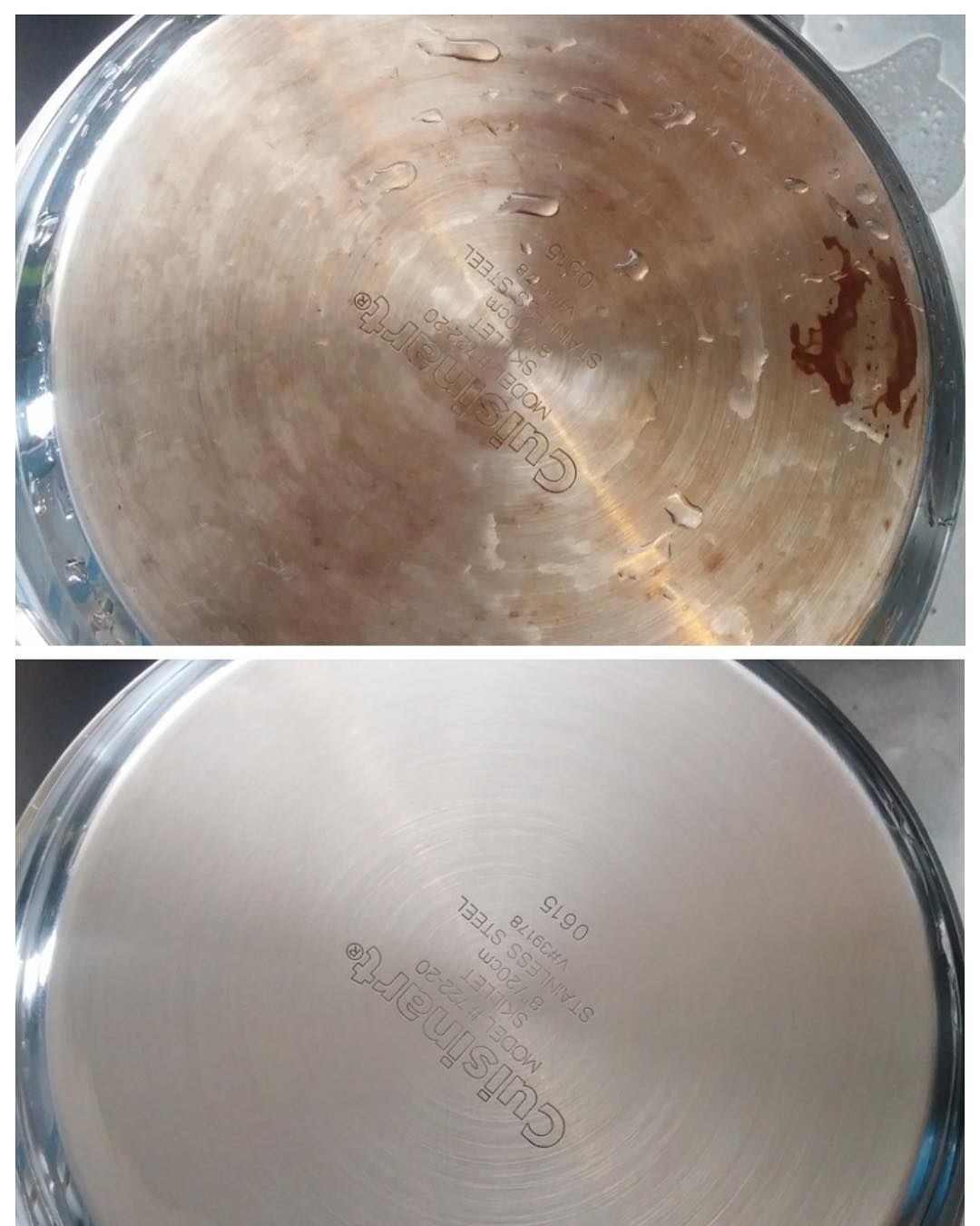 Before-and-after of a rusty pan completely cleaned by the powder