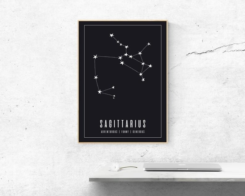 """A large framed wall art print with the Sagittarius constellation and the words """"Sagittarius adventurous funny generous"""" printed in white on a black background"""