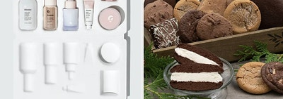 glossier skin care assortment, and basket filled with baked goods