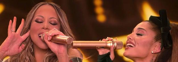 Mariah Carey and Ariana Grande perform and a tweet caption