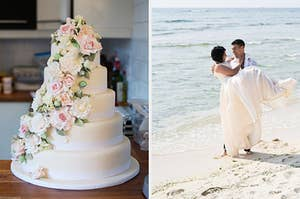 On the left, a wedding cake with five tears covered in roses, and on the right, a bride and groom on the beach