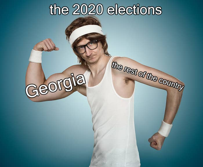 """A man flexes with one strong arm that says """"Georgia"""" and a weak arm that says """"the rest of the country."""""""