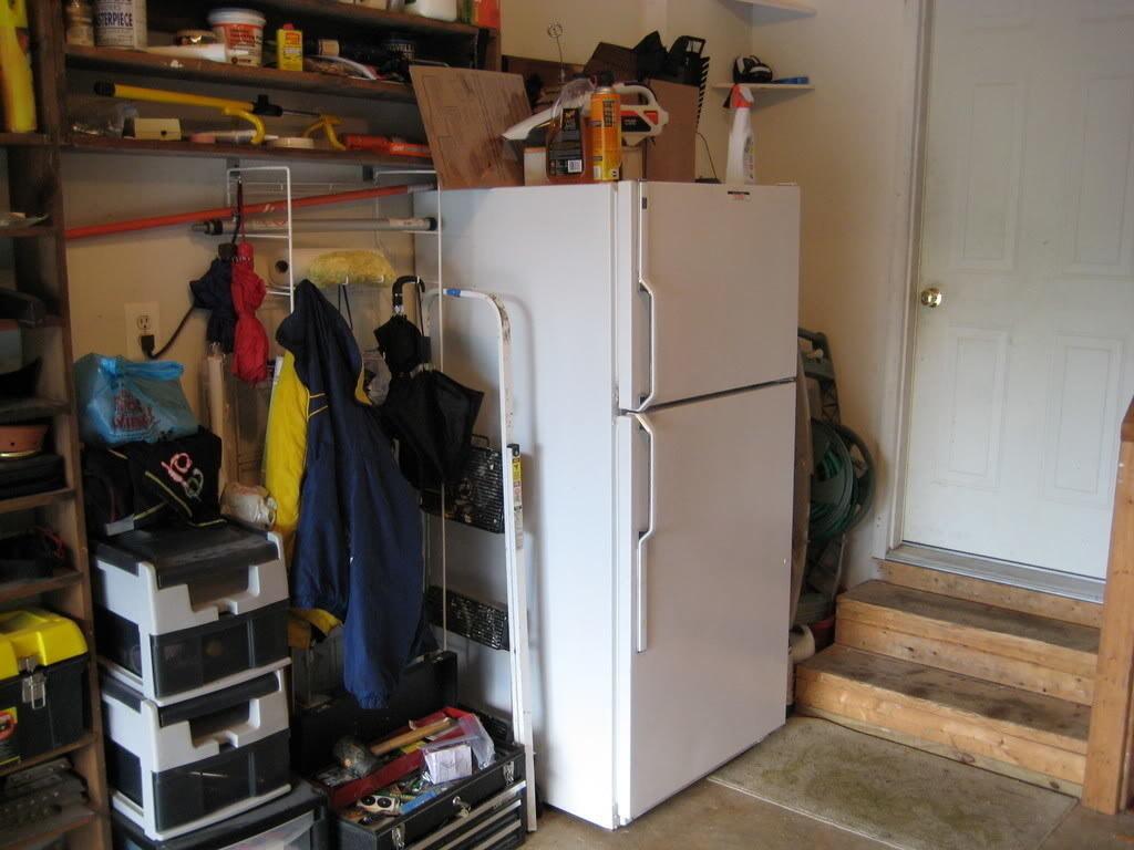 fridge in a garage
