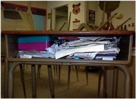 very messy desk