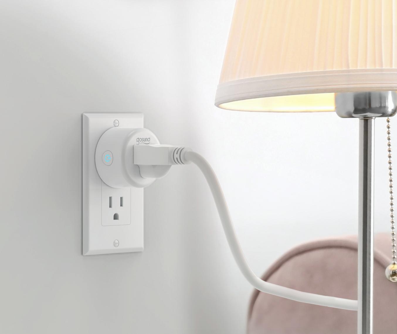 lamp plugged into a smart plug by Gosund