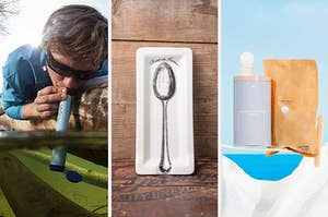 """split thumbnail of person drinking stream water through a Lifestraw, spoon rest that says """"rest in grease,"""" laundry detergent tablets"""