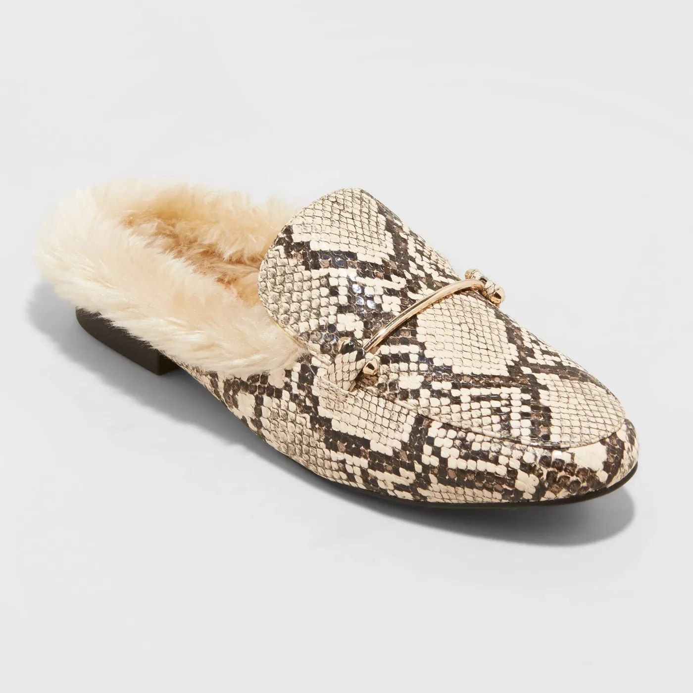 Python textured mules with off-white fur on the inside