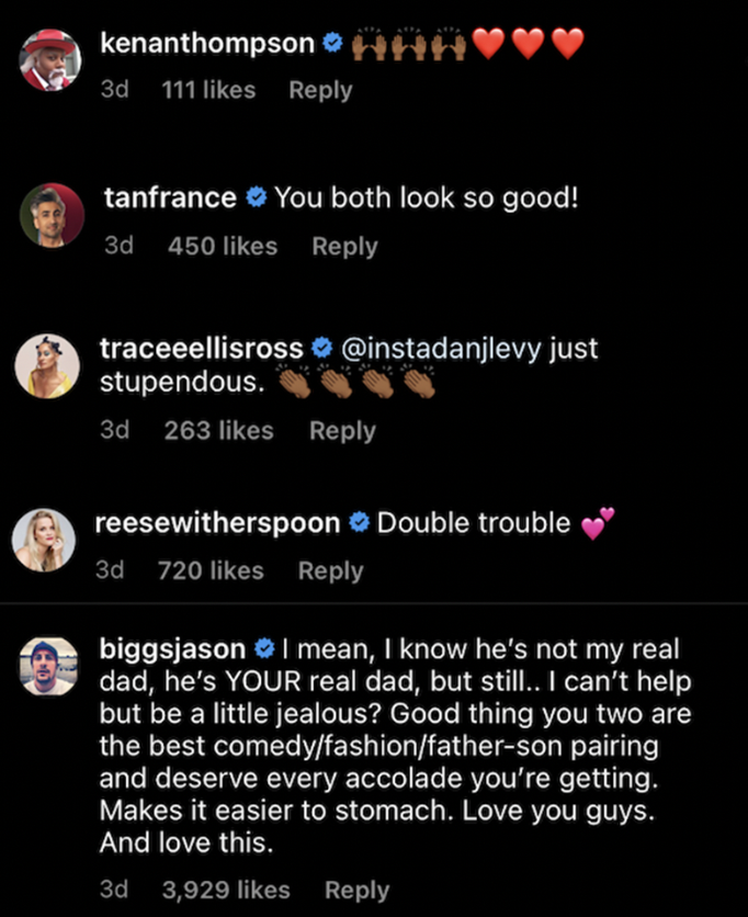 Tan fRance, Kenan Thompson, Reese Witherspoon, and Tracee Ellis Ross show their support, while Jason Biggs says he's a bit jealous even if Eugene isn't his real dad, then said this accolade was much deserved