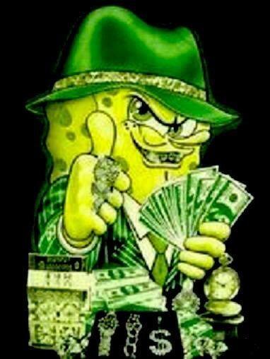 spongebob flashing money