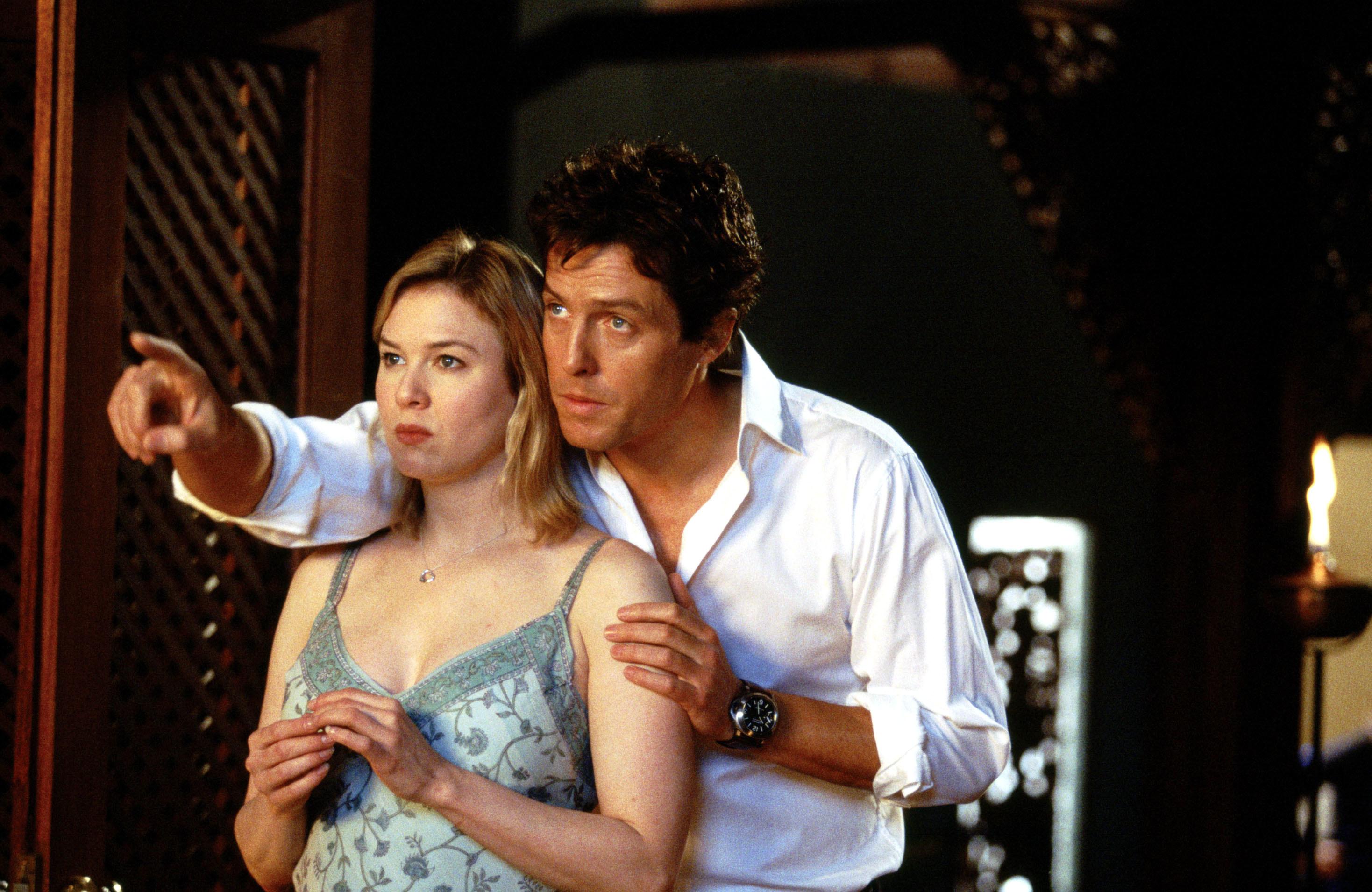still from a Bridget Jones film of Renée and Hugh