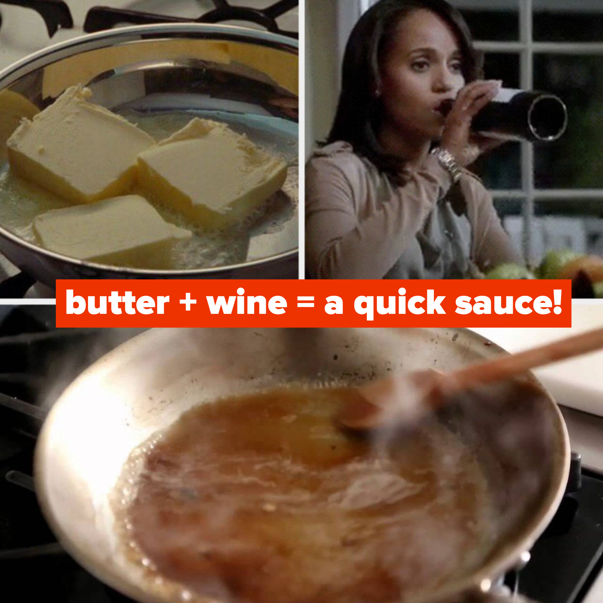 "Three slabs of butter cooking in a pan from ""Julie & Julia;"" Olivia Pope from ""Scandal"" drinking wine; Martha Stewart deglazing a pan with a wooden spoon"