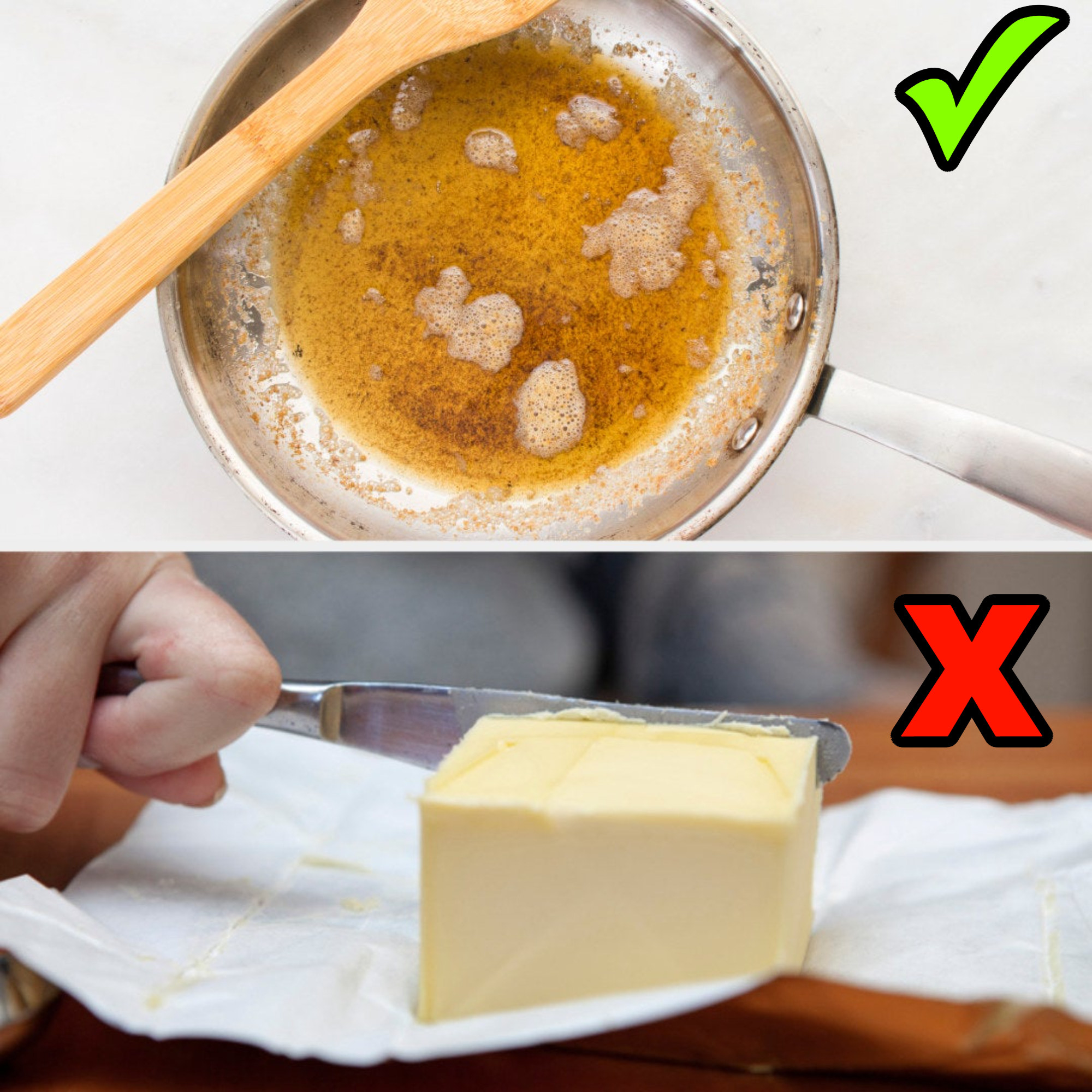 A pot of browned butter and a thick slab of regular butter being cut with a knife