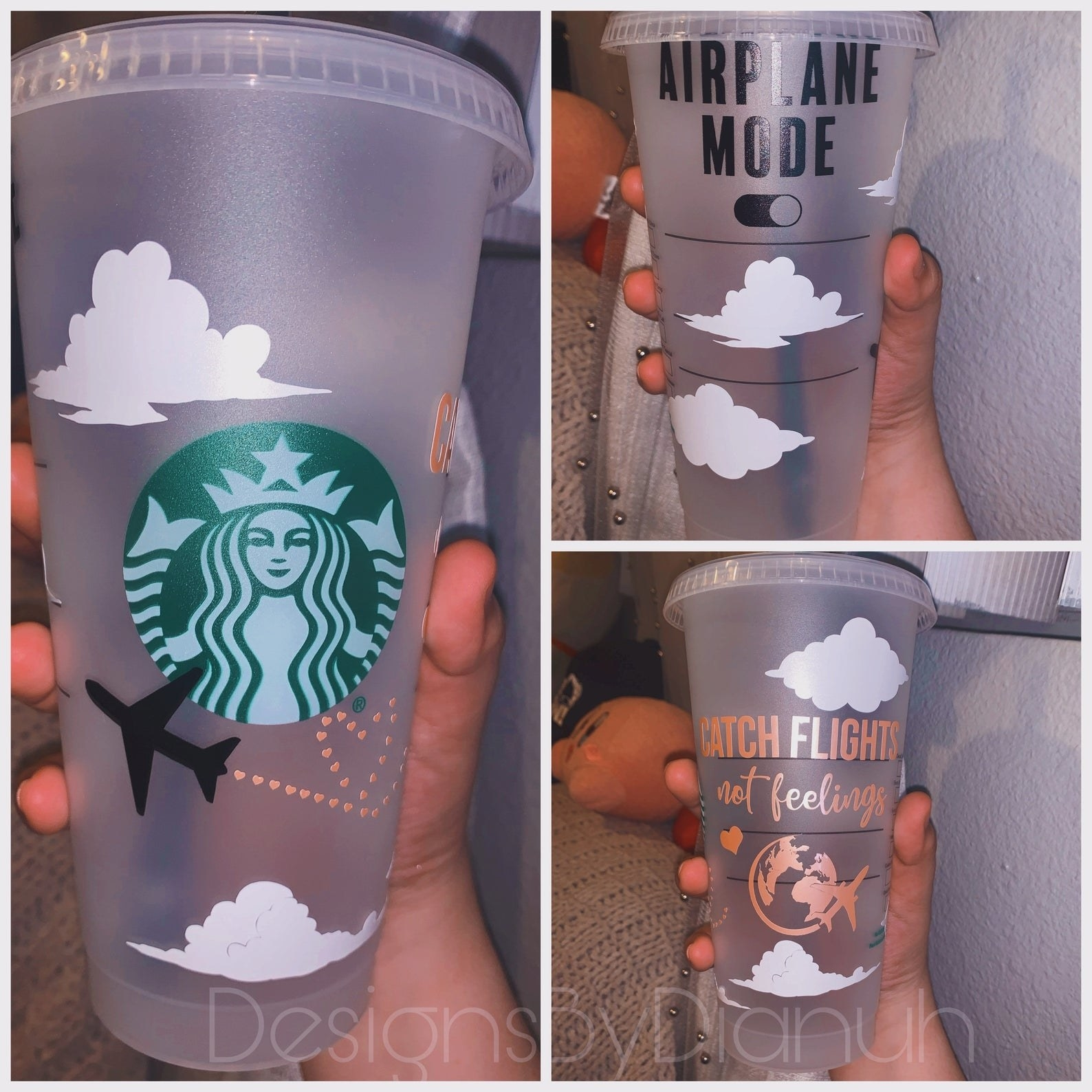 A starbucks cup with travel illustrations