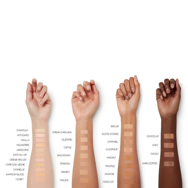 various models hands showing the shades the concealer comes in