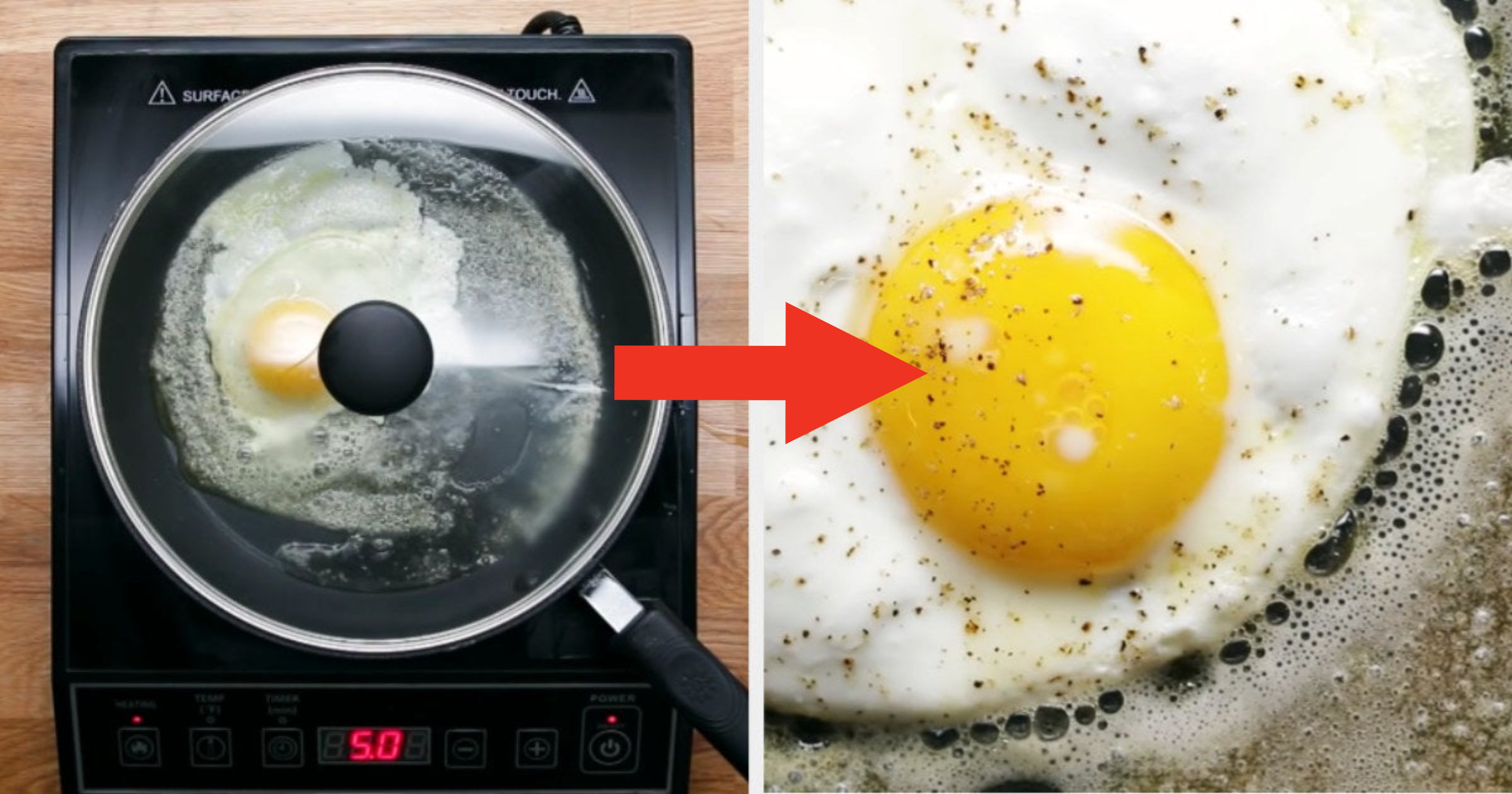 An over-easy egg being cooked in a pan with the lid on top of it