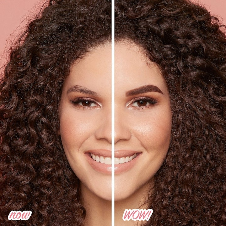 a before and after photo showing a model's brow looking visibly thicker and fuller after using the pencil