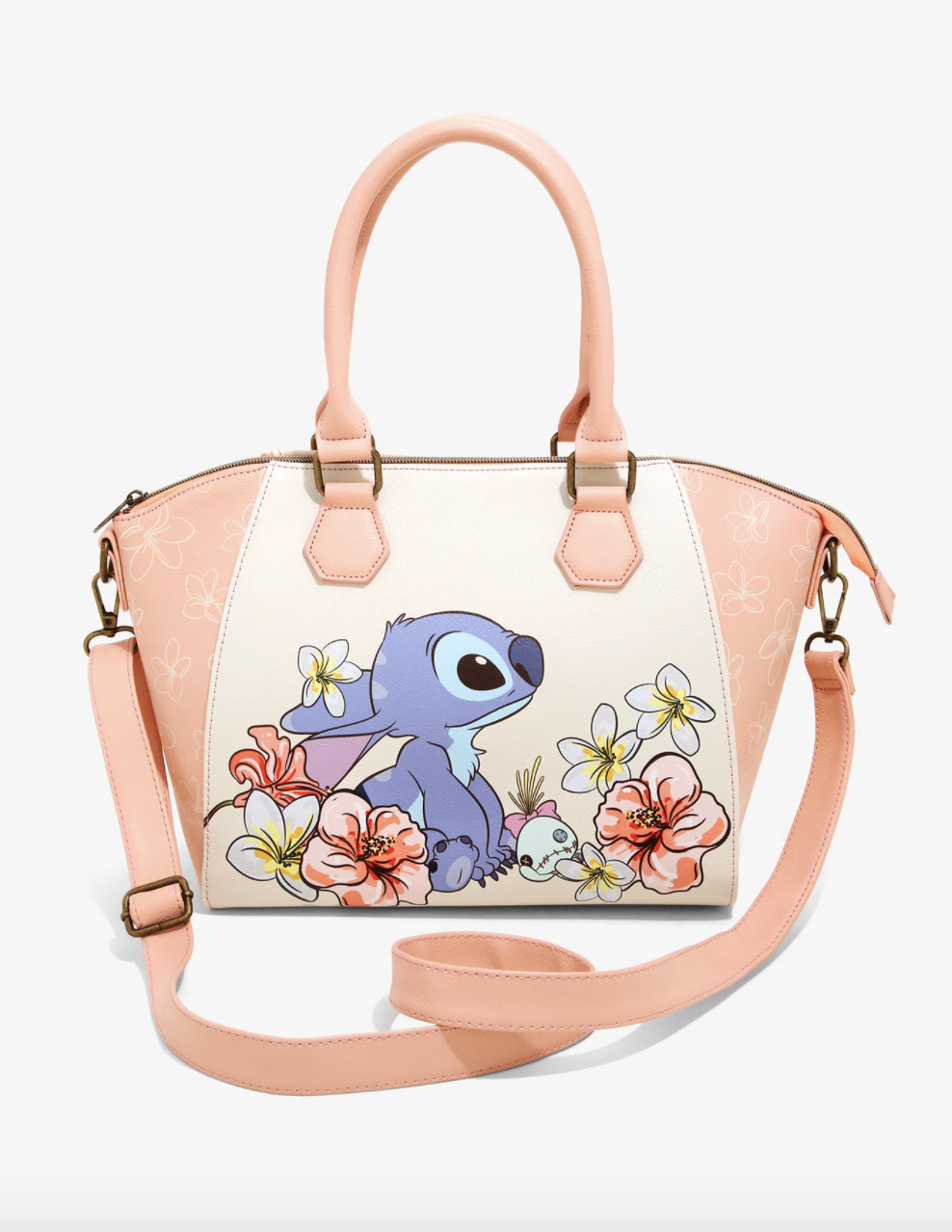 the pastel bag with an illustration of a cute Stitch sitting among flowers