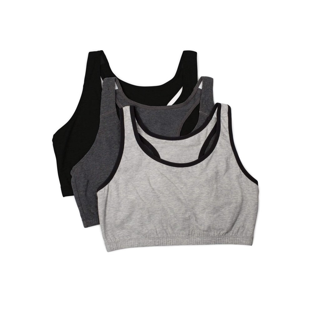 set of three tank style sports bras. one in gray, dark gray, and black