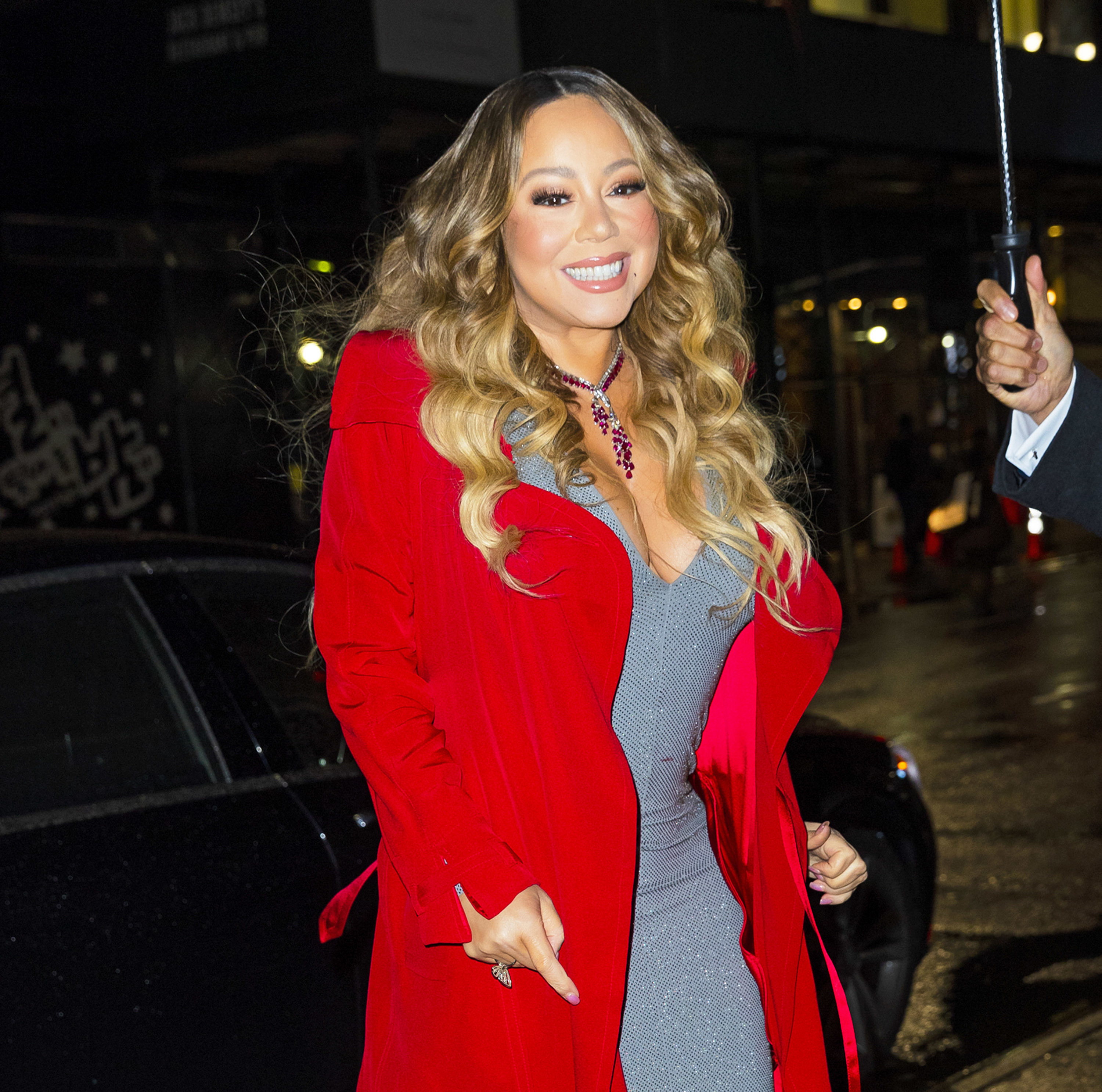 Mariah Carey arrives at Empire State Building on December 17, 2019 in New York City