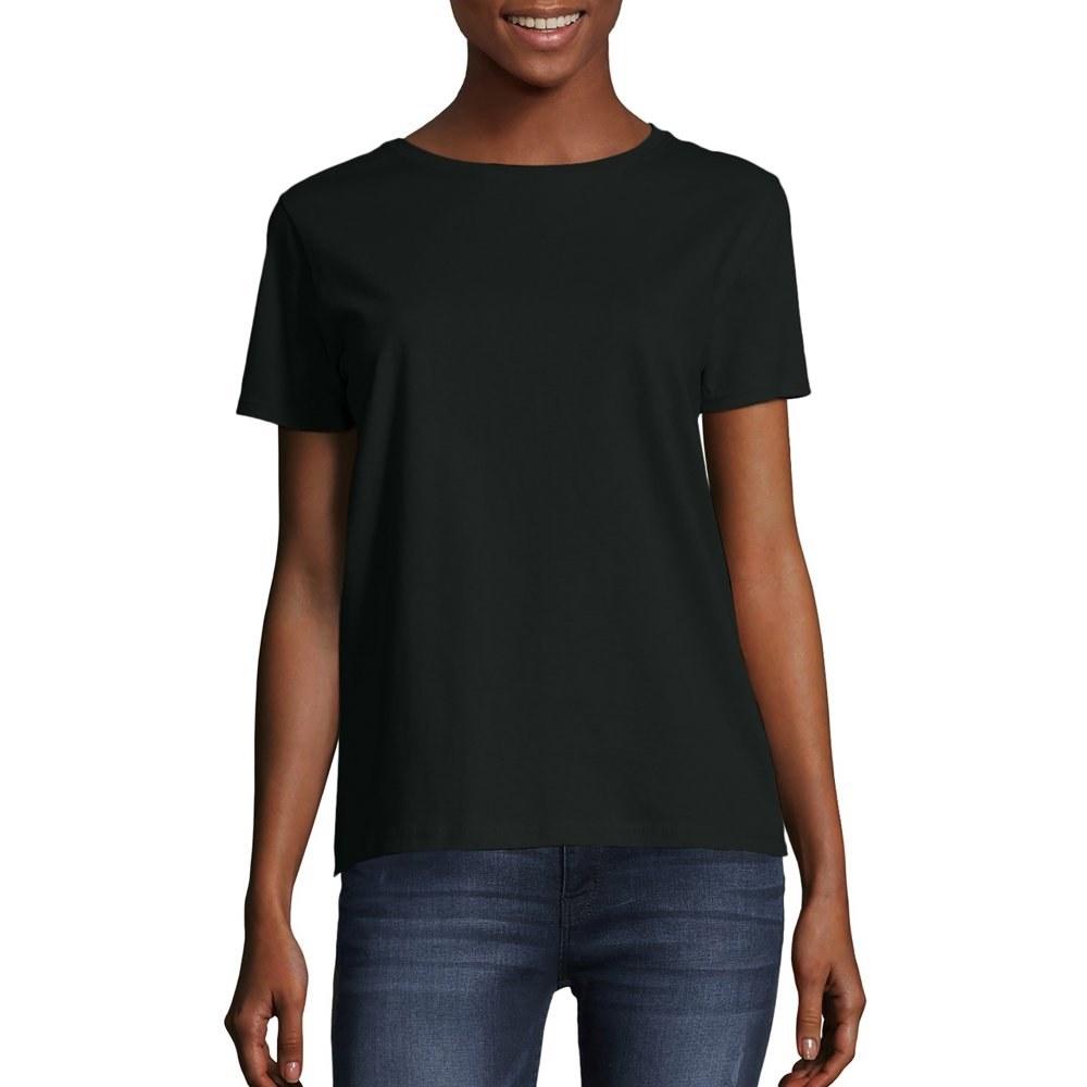 model wears black t-shirt