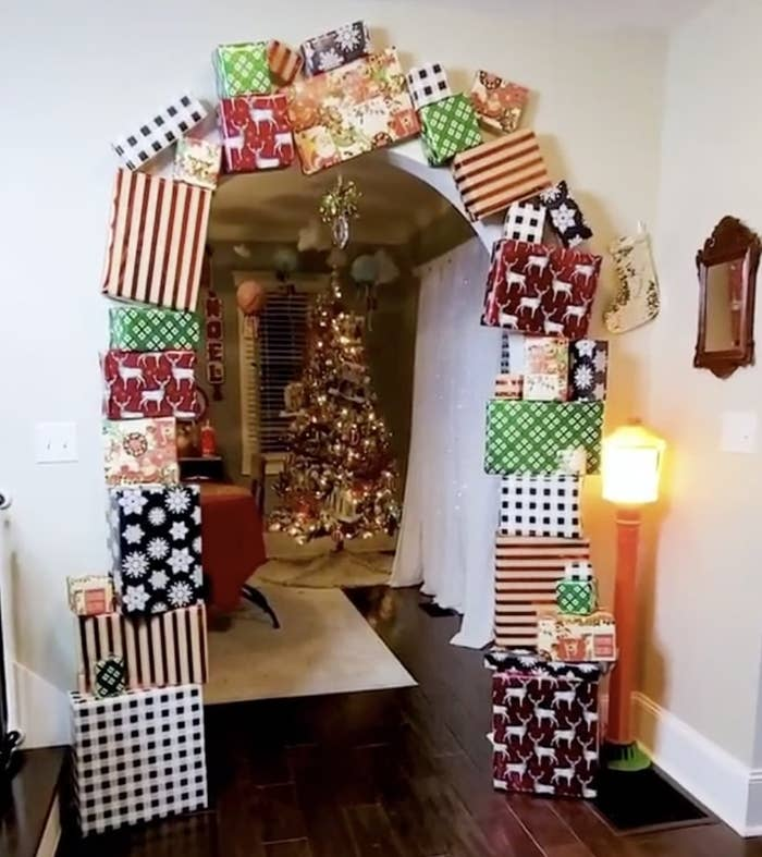 A doorway surrounded by colorful presents