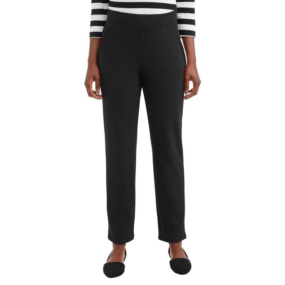 model wears black knit pant